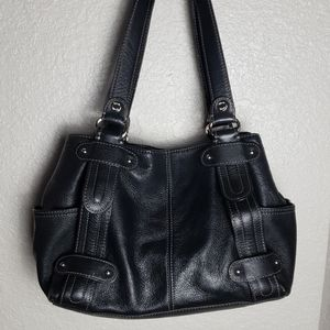 Tignanello black leather shoulder bag purse